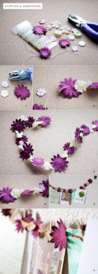 como hacer guirnalda con papel de seda de flores