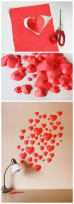 Corazones 3D para decorar una pared de bodasyweddings.com