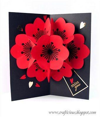Postal Pop up flores 3D
