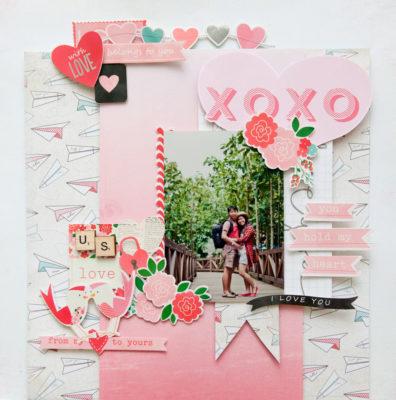 san valentin tarjeta de scrapbook