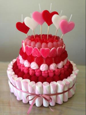 Super tarta de chuches para San Valentin