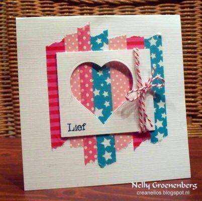 tarjeta de scrap con washi tape para el 14 de febrero
