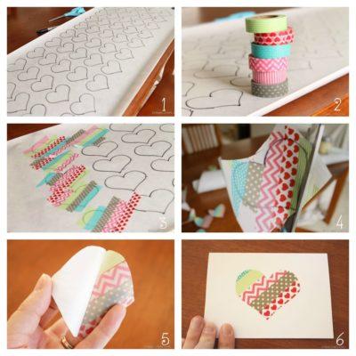 tarjetas con washi tape de san valentin