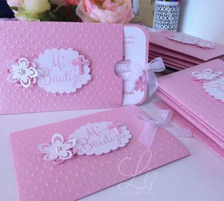 Ideas de tarjetas Scrap para bautizos en rosa.