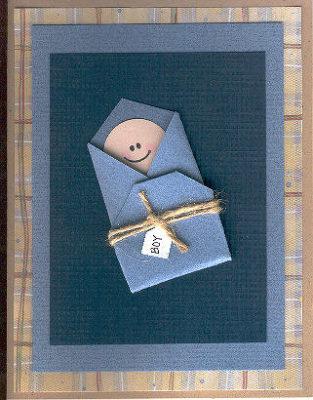 Tarjeta de scrap en azul para Baby shower de Scrapbooking247.