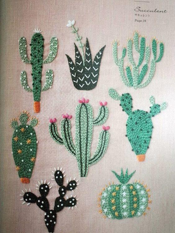 Cactus bordados de Yumiko Higuchi.