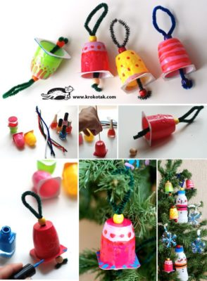 Adornos navideños con envases de iogurt reciclados