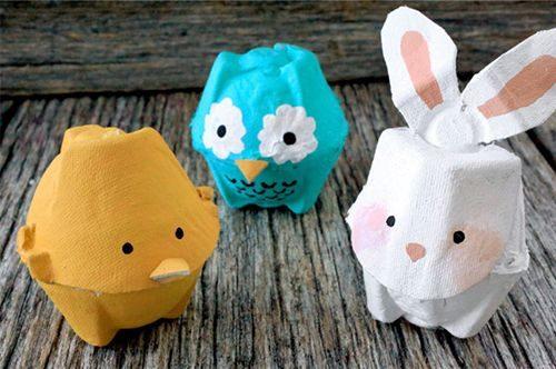 Animales con cartón de huevo