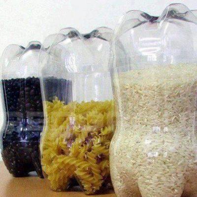 Botes para almacenar semillas y granos reciclando botellas