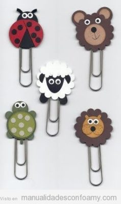 Clips decorados con gomaeva de Manualidadesconfoamy.com