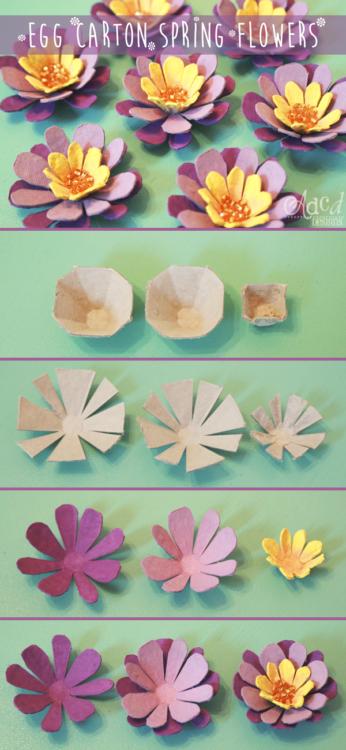 Como hacer flores con hueveras recicladas