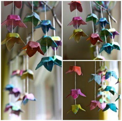 Guirnaldas creativas con hueveras recicladas