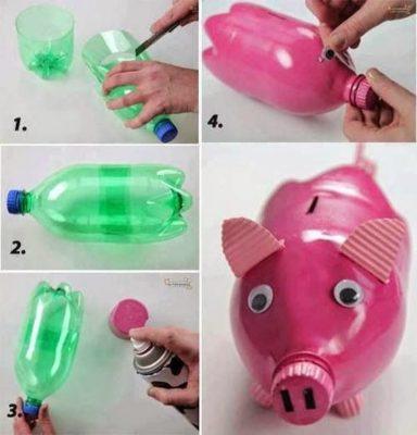 Hucha cerdito con botella de plástico