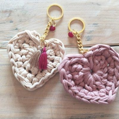 Llaveros de corazón con trapillo de Santapazienzia