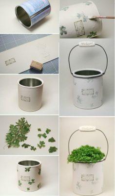 Macetero con lata reciclada