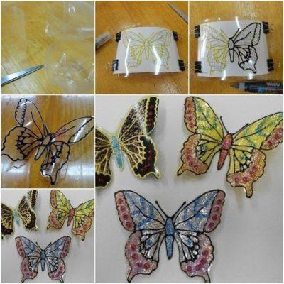 Mariposas de plastico transparente reciclado