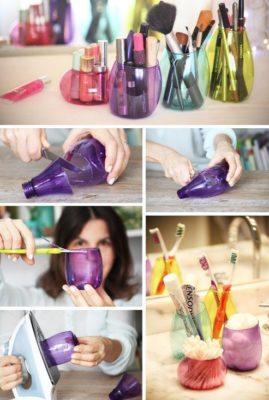 Organizadores para el maquillaje con envases de plástico