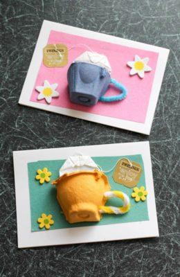 Tarjetas divertidas con cartón de huevos reciclado.