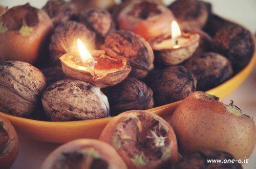 Velitas aromáticas con cascaras de nuez