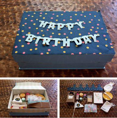 Caja sorpresa de celebración de cumpleaños.