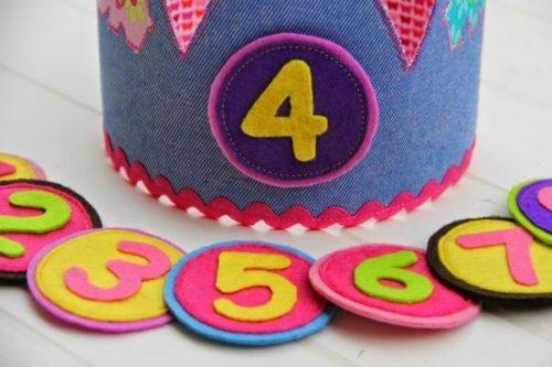 Coronas de tela para cumpleaños personalizable.