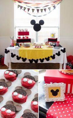 Mesa de cumpleaños inspirada en Mickey.
