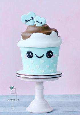 Pastel Cupcake Kawai para fiestas.