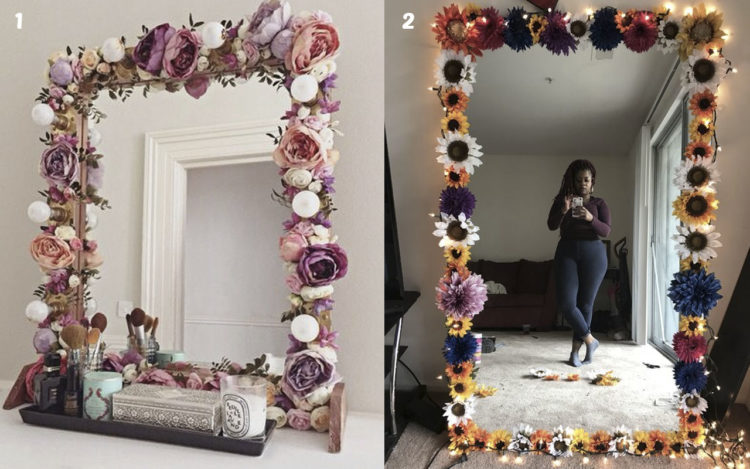 M s de 50 manualidades con flores artificiales top 2019 for Ideas para decorar un espejo sin marco