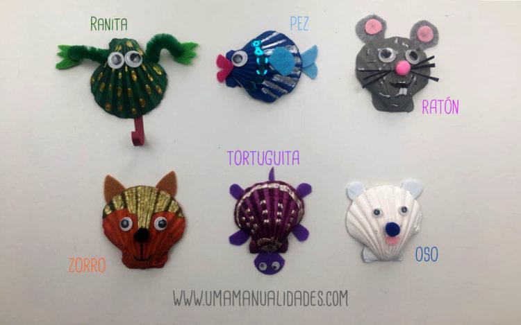 Animales con conchas de mar