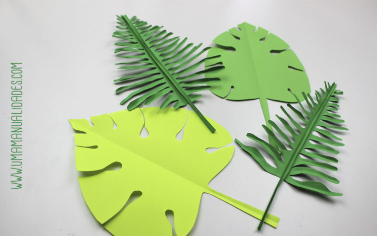 hojas tropicales de papel
