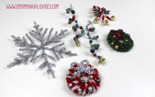 adornos con limpiapipas de navidad