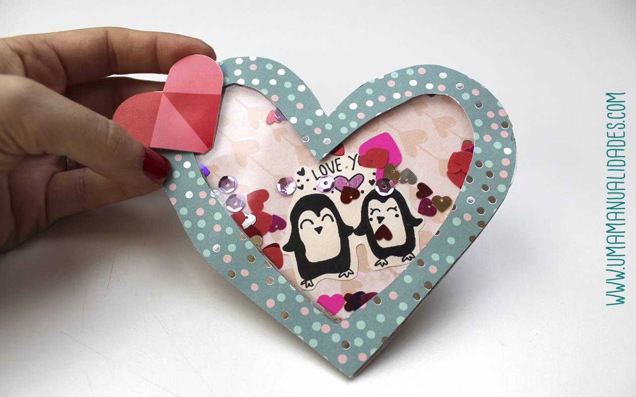 tarjeta shaker card san valentin
