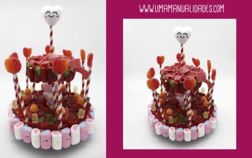 tarta con chucherías de san valentín