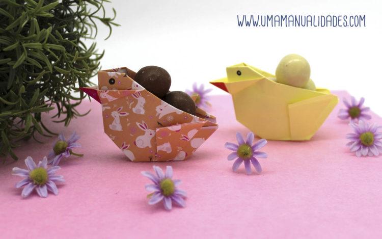 pollitos de origami para pascua