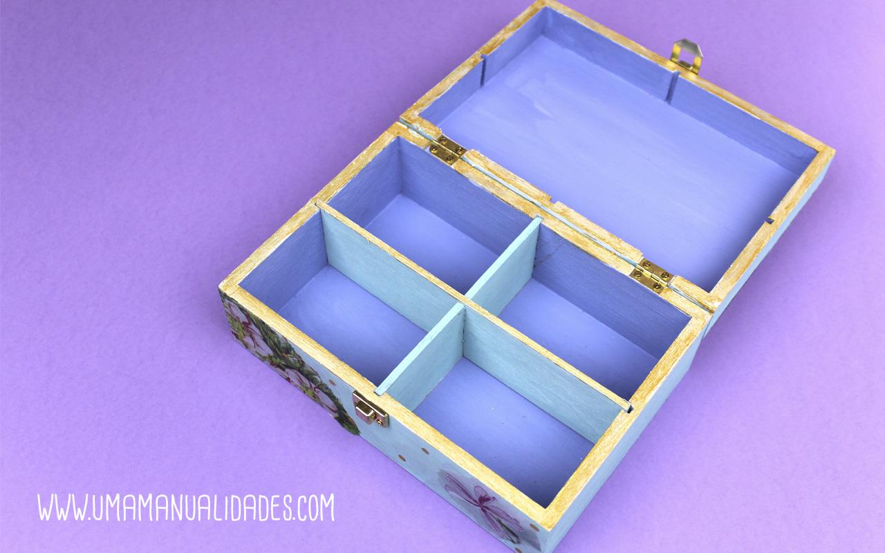 caja de madera decorada con decopatch