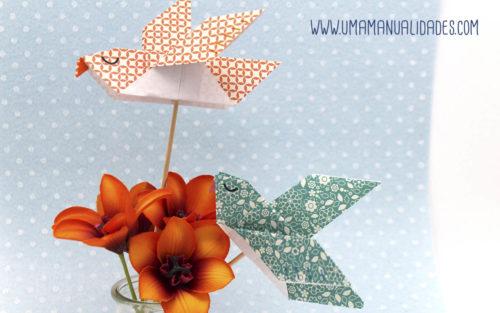 pajaros de papel con origami