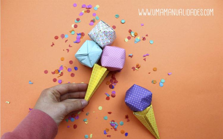 helado de origami 3d