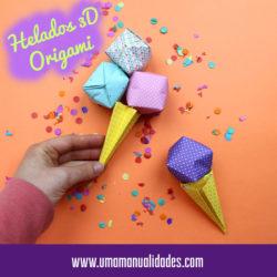 Helado 3D de origami