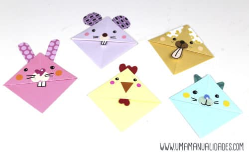 marcapaginas de origami de animales