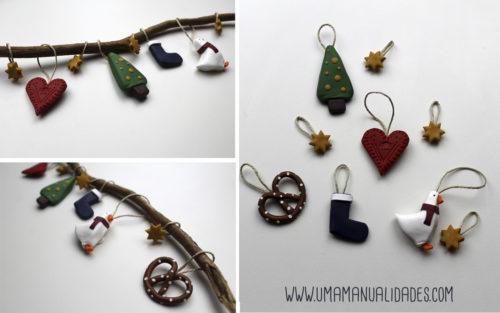 adornos de navidad con arcilla polimérica