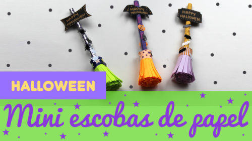 Mini escobas de papel para halloween