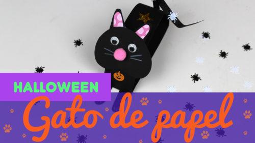 Gato de cartulina para halloween