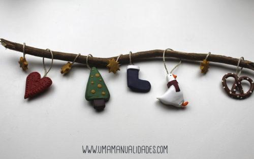 como hacer adornos navideños con arcilla paso a paso