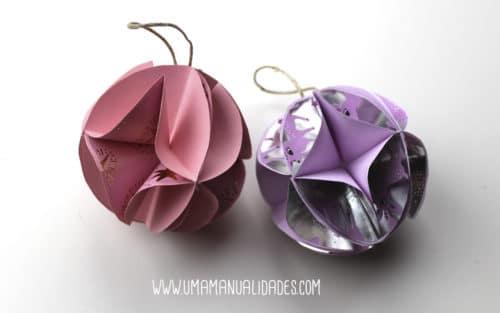 bolas navideñas con papel